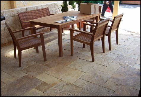 Travertin Terrassenplatten römischer Verband